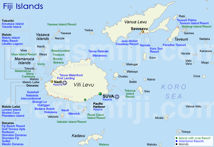 Fiji Map Accommodation Map Of Fiji Islands - Islands map