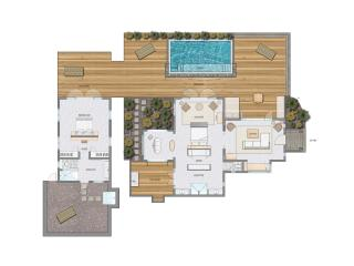 2 Bedroom Beachfront Villa (floor plan)