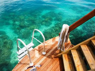 Direct snorkelling access from over-water bure